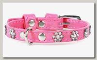 Ошейник для животных Collar Glamour кожаный, двойной, прошитый с клеевыми стразами; цветочек, розовый