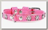 Ошейник для животных Collar Glamour кожаный, двойной прошитый с клеевыми стразами, цветочек, розовый