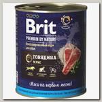Консервы для собак Brit Premium by Nature Говядина и рис