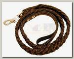 Поводок для собак ГЕОГАЗТЕХНОЛОГИЯ кожаный коса, 17 мм*140 см