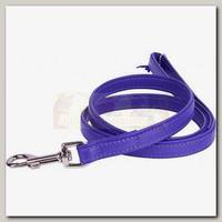 Поводок для животных Collar Glamour кожаный, двойной прошитый без украшений, фиолетовый