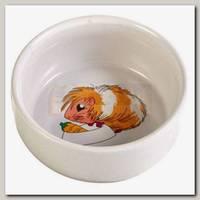 Миска для грызунов TRIXIE белая с рисунком Свинка, керамика 0,3л