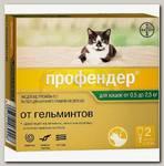 Антигельминтик для кошек до 2,5 кг Bayer Profender, Капли на холку, лечение и профилактика глистов