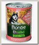 Консервы для собак всех пород Monge Dog BWild Grainfree Adult из лосося с тыквой и кабачками