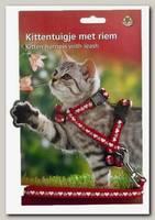Шлейка для кошек Beeztees нейлоновая красная с сердечками