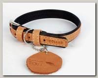 Ошейник для животных Collar Soft кожаный, двойной прошитый, коричневый верх, черный низ