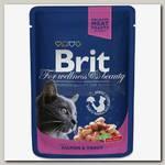 Консервы для кошек Brit Premium Salmon & Trout Лосось и форель (пауч)