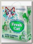 Наполнитель для кошачьих туалетов Fresh Cat Aloe vera комкующийся, экстра белая глина с ароматом 6 л