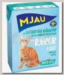 Консервы для кошек, Mjau Мясные кусочки в соусе с креветками