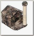 Зооник Дом для кошки с когтеточкой (цветной мех) 360*520*500