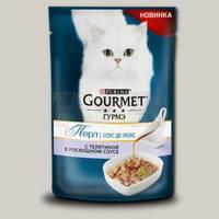 Консервы для кошек Gourmet Perle Соус Де-люкс, с телятиной в роскошном соусе, пауч