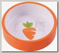 Миска для грызунов КерамикАрт керамическая Оранжевая с морковью