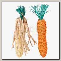 Набор игрушек для грызунов Trixie Морковь и Кукуруза, сизаль, 2 шт