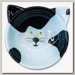 Миска для кошек КерамикАрт Мордочка кошки, керамическая, 120 мл, черно - белая