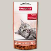 Лакомство для кошек Beaphar Salmon Malt Bits Подушечки для выведения шерсти из желудка