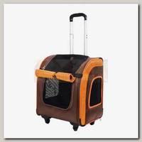 Тележка-трансформер для животных до 10 кг Ibiyaya Liso прямоугольная, коричневая/оранжевая