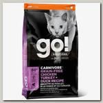 Корм для кошек и котят Go! Solutions Holistic Carnivore Grain-Free Chicken, Turkey + Duck Recipe Беззерновой 4 вида Мяса: курица, индейка, утка и лосось