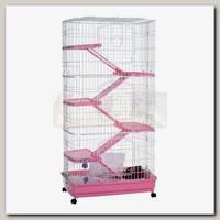 Клетка для шиншилл, хорьков, кроликов KREDO 3-этажная с пластиковым поддон, 68*46*128 см