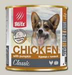 Консервы для собак всех пород и возрастов Blitz с курицей и тыквой