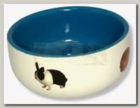 Миска для грызунов Beeztees керамическая с изображением кролика, голубая