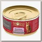 Консервы для кошек Molina, со вкусом цыпленка с креветками в соусе
