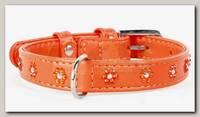 Ошейник для животных Collar Glamour кожаный, двойной, прошитый с клеевыми стразами цветочек, оранжевый