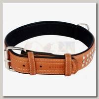 Ошейник для животных Collar Soft кожаный, двойной прошитый, с металлическими украшениями, коричневый верх, черный низ, 46-60 см