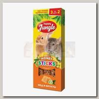 Лакомство для крупных грызунов Happy Jungle мед и фрукты, палочки 3 шт.