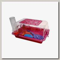 Террариум для грызунов ZOOexpress с пластиковой дверкой с комплектацией, прозрачный