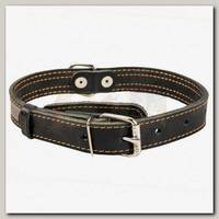 Ошейник для животных Collar кожаный двойной, черный, 38-50 см