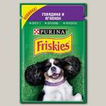 Консервы для взрослых собак Friskies, кусочки с говядиной и ягненком в подливе