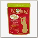Консервы для кошек Molina цыпленок и говядина в соусе (пауч)