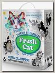 Наполнитель для кошачьих туалетов Fresh Cat Activated carbon комкующийся, экстра белая глина с активированным углем 6 л