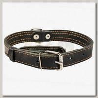 Ошейник для животных Collar кожаный двойной, черный, 27-35 см