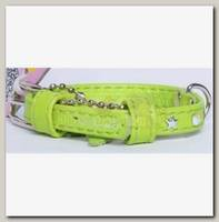 Ошейник для животных Collar Glamour кожаный, двойной прошитый с клеевыми стразами звездочка, зеленый