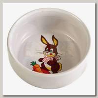 Миска для грызунов TRIXIE белая с рисунком Кролик керамика 0,3л