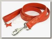 Поводок для животных Collar Glamour кожаный, двойной прошитый без украшений, оранжевый