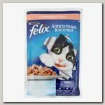 Консервы для кошек Felix Agail, аппетитные кусочки с лососем (пауч)