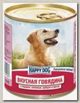 Консервы для собак Happy Dog Говядина с сердцем, печенью, рубцом и рисом