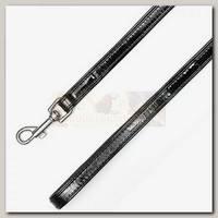 Поводок для животных Collar Brilliance кожаный, двойной, без украшений, черный
