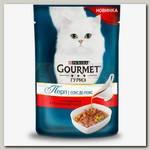 Влажный корм для кошек Gourmet Перл Соус Де-люкс для кошек с говядиной в роскошном соусе, пауч