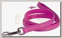 Поводок для животных Collar Glamour кожаный, двойной прошитый без украшений, розовый