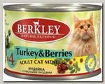 Консервы для кошек Berkley №4, с индейкой и лесными ягодами